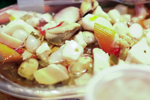 mixed seafood in sunbflower oil